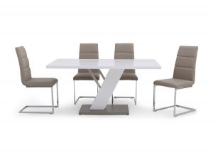 Fairmont Stephano White High Gloss Dining Table + 6 Zara Chairs