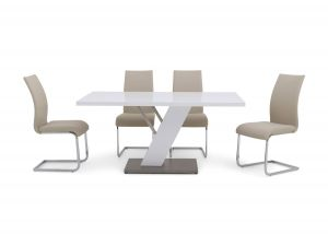 Fairmont Stephano White High Gloss Dining Table + 6 Paolo Chairs