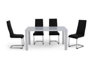 Fairmont Blanca 150cm White High Gloss Dining Table + 4 Hugo Chairs