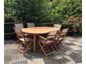 Royalcraft Chelsea Ellipse Wooden Dining Set with 6 Folding Armchairs