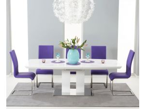 Marila 150cm White High Gloss Extending Dining Table With 6 Malibu Purple Chairs