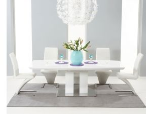 Rossini 180 MDF High Gloss Extending Dining Table With 6 Hereford Chairs