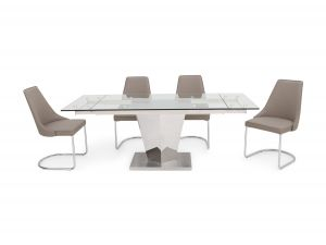 Fairmont Isabella Ext Clear Glass Dining Table + 6 Mya Chairs