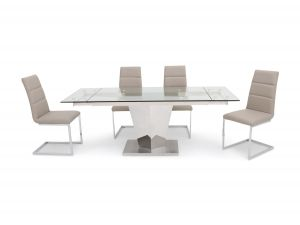 Fairmont Isabella Ext Clear Glass Dining Table + 6 Zara Chairs