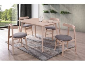 Isla 120cm Rect. Beech Dining Table + 4 Curved Beech Chairs