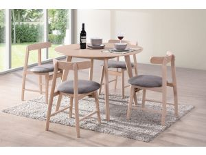 Isla 106cm Round Beech Dining Table + 4 Curved Beech Chairs