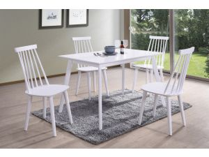 Isla 120cm Rect. White Dining Table + 4 Spindle White Chairs
