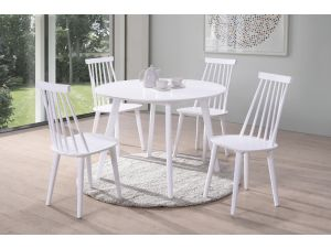 Isla 106cm Round White Dining Table + 4 Spindle White Chairs
