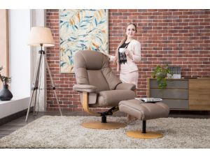 Jersey Earth Leather Swivel Recliner With Footstool