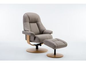 Jersey Pebble Leather Swivel Recliner With Footstool