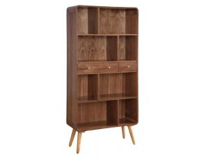 Jual JF707 Curved Walnut Wide Bookcase