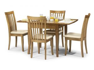 Julian Bowen Newbury Extending Maple Dining Set Table + 4 Slatted Chairs