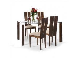 Julian Bowen Cayman Clear Glass Dining Table and 4 Cayman Chairs