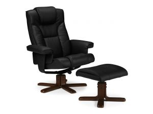 Julian Bowen Malmo Black Leather Recliner Chair and Stool