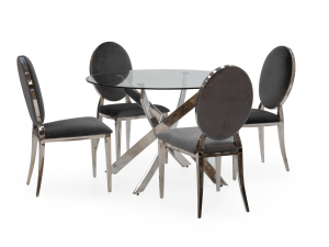 Kalmar 110cm Round Glass Dining Table + 4 Victoria Black Chairs