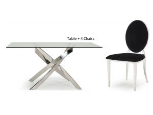 Kalmar 160cm Rect. Glass Dining Table + Victoria Black Fabric Chairs