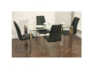 Kansas 1.4m Glass Dining Table with 4 Kansas Black Leather Dining Chairs