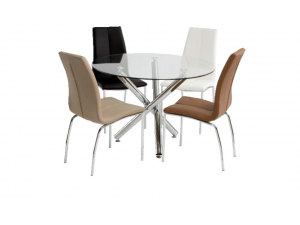 Kansas 1.06m Glass Dining Table With 4 Kansas Leather Chairs