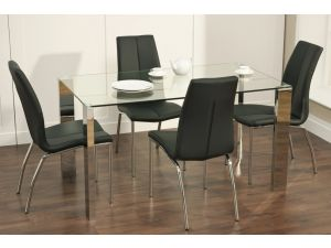 Kansas 1.4m Glass Dining Table with 4 Monaco Leather Chairs