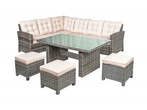 Kensington Corner Rattan Dining Set With 3 Footstools 2018 Range