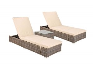 Kensington Rattan Sunlounger Set With Side Table 2017 Range