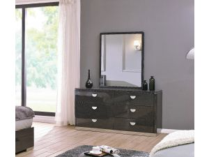 Emilia High Gloss 6 Drawer Chest And Mirror Set