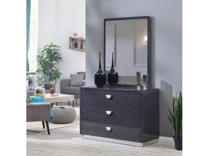 Emilia High Gloss 3 Drawer Chest And Mirror Set