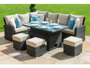 Maze Kingston Brown Rattan Corner Sofa Dining Set with Rising Table