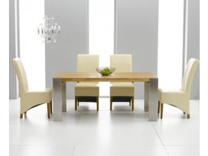 Knightsbridge Solid Oak Extending Dining Table + 6 Barcelona Chairs
