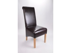 Shankar Krista Bonded Leather Brown Leather Dining Chair
