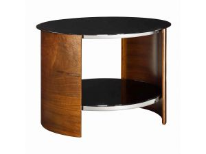 Jual JF303 Black Glass And Walnut Round Lamp Table