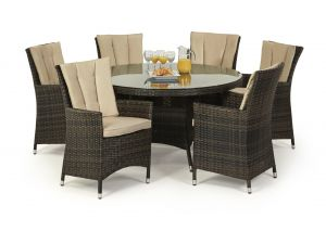Maze LA 6 Seat Round Rattan Dining Set - Brown