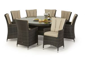 Maze LA 8 Seat Round Rattan Dining Set - Brown