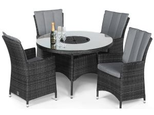 Maze LA Grey 4 Seater Round Dining Set With Ice Bucket