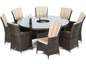 Maze LA Brown 8 Seater Round Dining Set With Ice Bucket