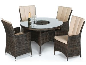 Maze LA Brown 4 Seater Round Dining Set With Ice Bucket