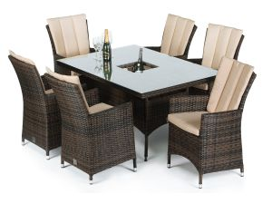 Maze LA Brown 6 Seater Rectangle Dining Set With Ice Bucket
