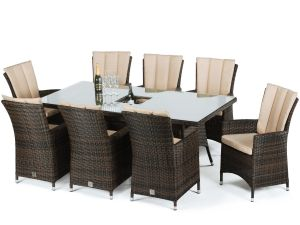Maze LA 8 Seat Rectangle Rattan Dining Set - Brown