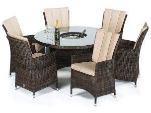 Maze LA Brown 6 Seater Round Dining Set With Ice Bucket