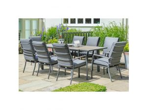 Leisuregrow Milan Grey Aluminium 8 Seat Extendable Set With Cushioned Armchairs