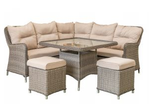 Leisuregrow Marseille Compact Brown Rattan Corner Sofa Dining Set with Stools