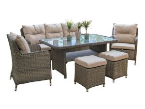 Leisuregrow Marseille 3 Seater Brown Rattan Sofa Dining Set with Adj. Table