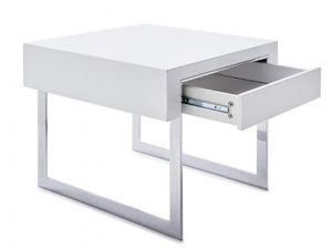 Fairmont Lema White High Gloss Side Table with Drawer