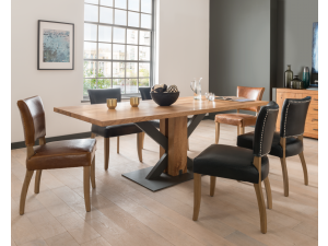 Lindau 180cm Rect. Oak Dining Table + Duke Dining Chairs