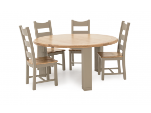 Logan 156cm Round Oak Dining Table + Ladder Back Dining Chairs