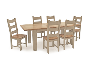 Logan 180-230cm Ext. Oak Dining Table + Ladder Back Dining Chairs