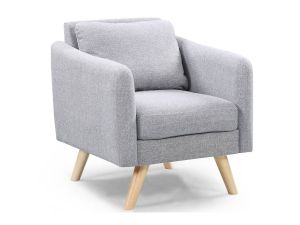 London Light Grey Fabric Armchair & Footstool