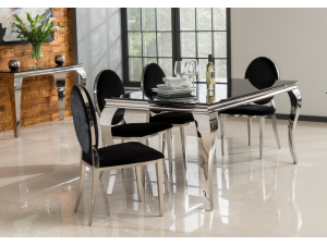 Louis 160cm Black Glass Dining Table + Victoria Black Fabric Chairs