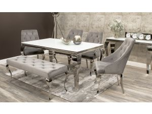 Louis 200cm White Glass Dining Table + 4 Cassia Chairs + Louis Bench