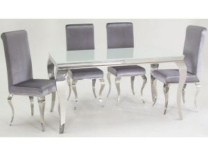 Louis White Tempered Glass Dining Table With 4 Chairs
